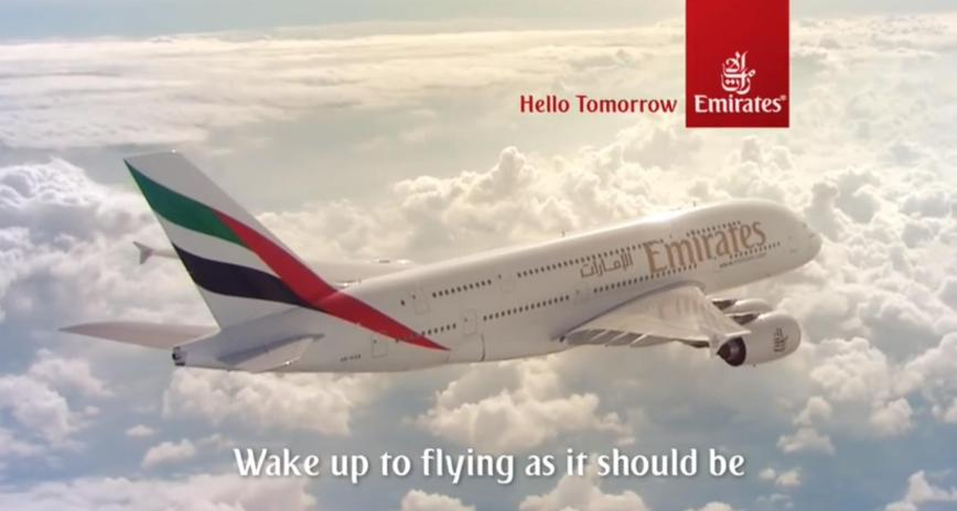 Emirates A380 Werbung 2015 mit Jennifer Aniston - Wake up to flying as it should be